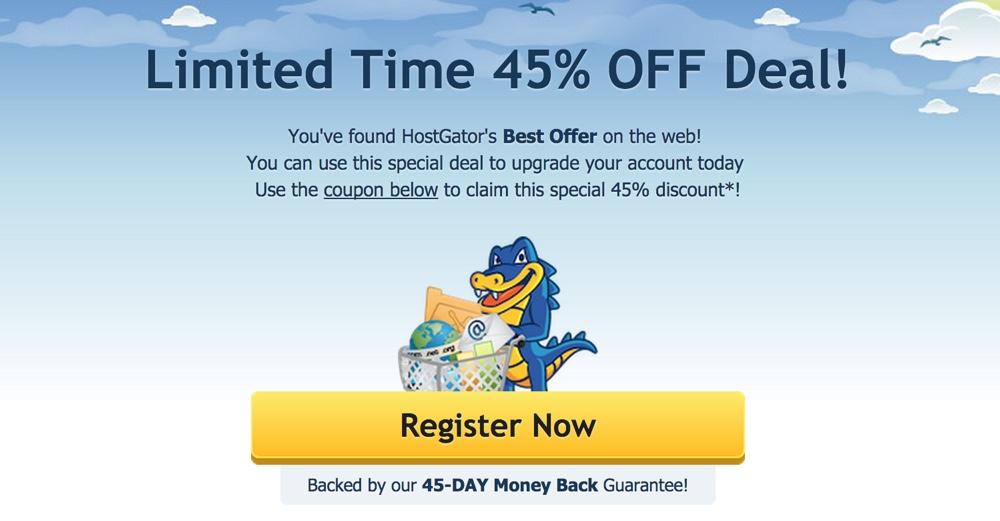 HostGator special discount 45% off