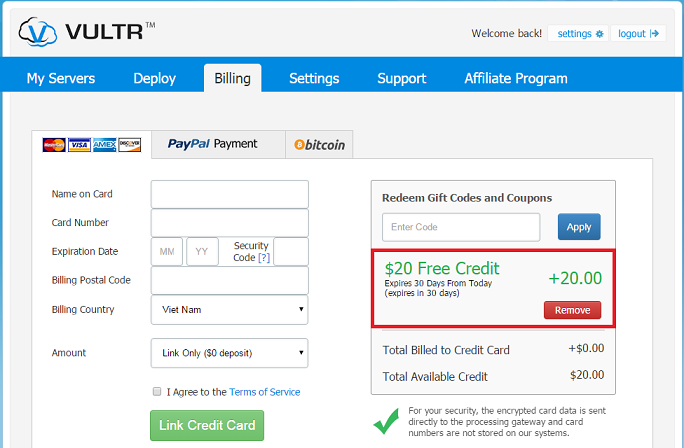 vultr coupon code free 20 usd