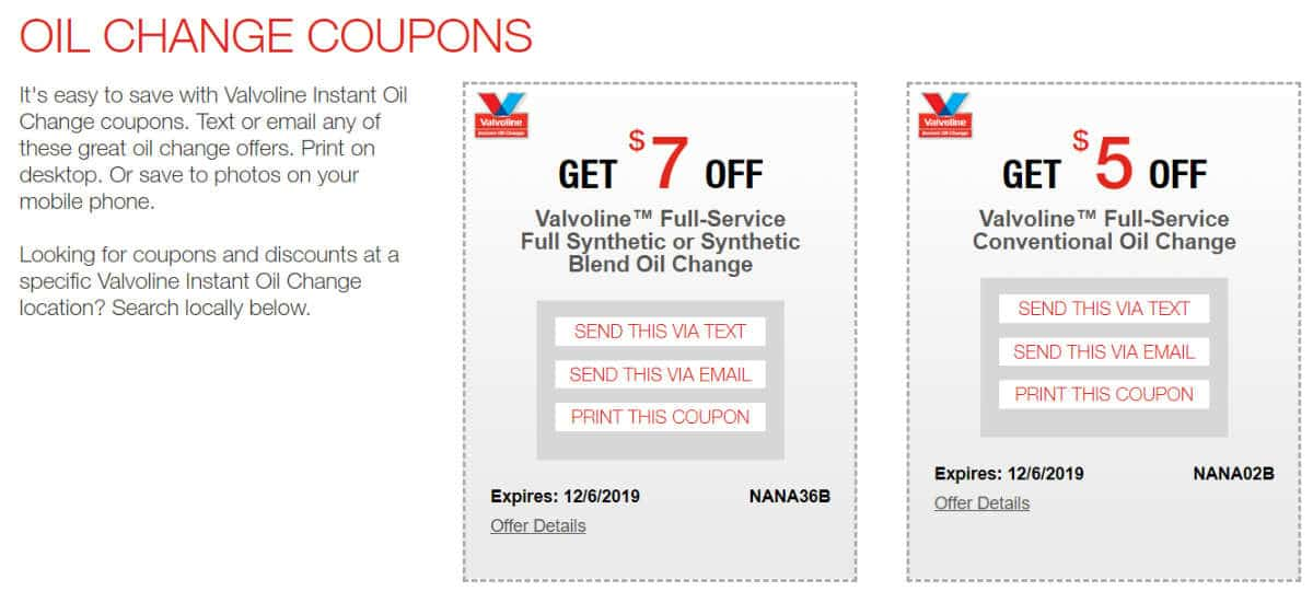 Valvoline Coupon and Discount Codes 2019